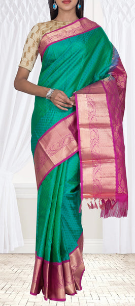 Green & Purple Lightweight Kanchipuram Pure Silk Saree