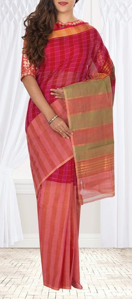 Red & Pink Maheshwari Cotton Saree