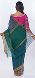 Teal Green & Light Brown Maheshwari Cotton Saree