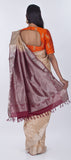 Cream & Brown Lightweight Kanchipuram Pure Silk Saree