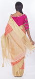 Orange & Cream Semi Silk Cotton Casual Saree