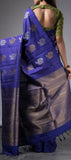 Twilight Blue Borderless Kanchipuram Silk Saree