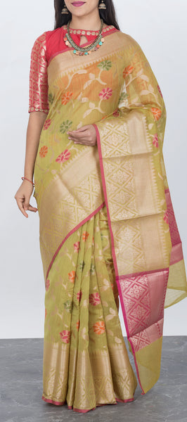 Pista Green Semi Benarasi Saree with Meenakari Work
