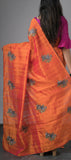 Borderless Peach Saree with Embroidery