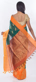 Green & Orange Semi Silk Cotton Casual Saree