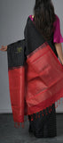 Borderless Black Softsilk Saree
