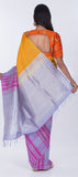 Mango Yellow & Grey Pure Soft Silk Saree