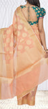 Peach Semi Benarasi Saree