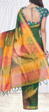 Dark Green Traditional Silk Cotton Saree — Diwali Collection