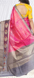 Pink & Grey Pure Tussar Silk Saree
