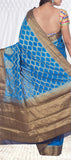 Peacock Blue Semi Chiffon Saree With Benarasi Zari Work
