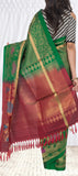 Bottle Green & Maroon Pure Soft Silk Saree