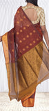 Brown & Mustard Maheshwari Cotton Saree