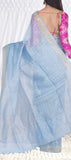 Light Blue Semi Jute Saree — Diwali Collections