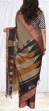 Taupe, Black & Maroon Ethnic Cotton Saree