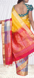Yellow & Onion Pink Pure Soft Silk Saree