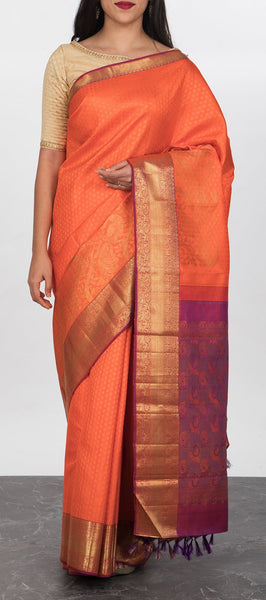Orange Pure Handloom Kanchipuram Silk Saree
