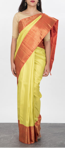 Neon Yellow Kanchipuram Silk Saree