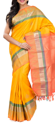 Yellow & Orange Pure Kanchipuram Handloom Silk Saree With Pure 1G Zari