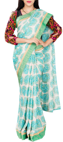 White and Turquoise Blue Semi Tussar Saree With Attached Border