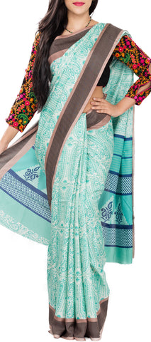 White & Turquoise Blue Semi Tussar Saree With Brown Border