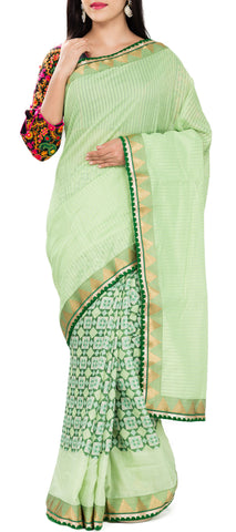 Light & Dark Green Semi Tussar Saree With Attached Border