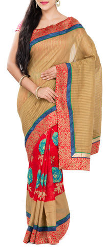 Fawn & Red Semi Tussar Saree With Attached Border
