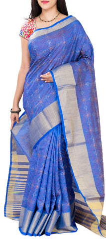 Royal Blue Semi Tussar Saree With Embroidery