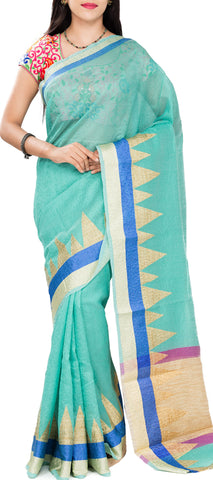 Aquamarine & Blue Semi Tussar Saree