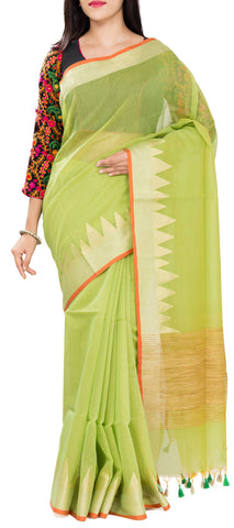 Light Parrot Green Semi Jute Saree