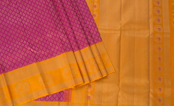 Pink & Yellow Pure Kanchipuram Handloom Silk Saree With Pure Zari