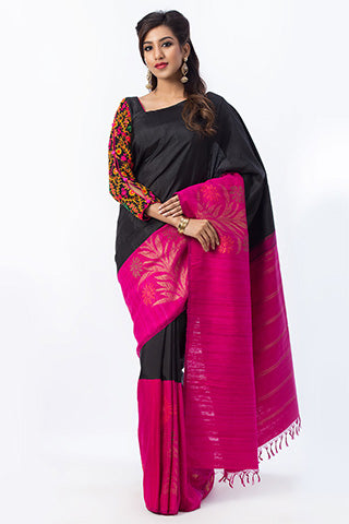 Black and Rose Pure Kanchipuram Handloom Silk Saree With Pure Zari