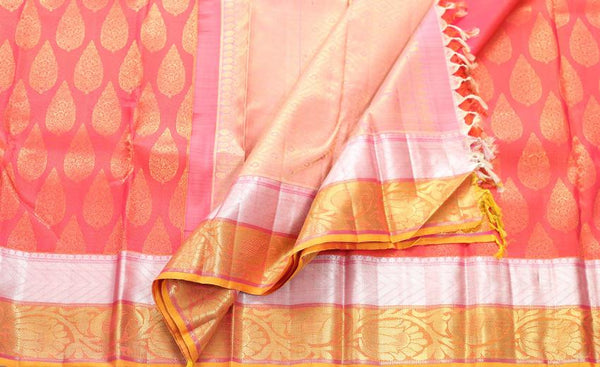 Pure kanchipuram handloom silk saree with pure zari