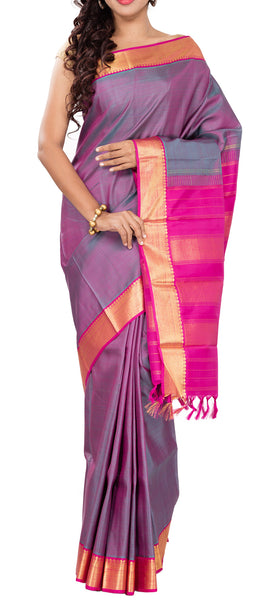 Grey & Pink Pure Kanchipuram Handloom Silk Saree