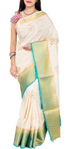 Off-White & Turquoise Blue Semi Tussar Saree With Embroidery