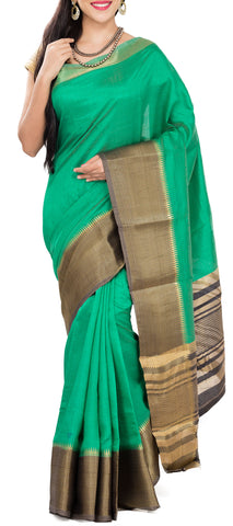 Green & Black Semi Tussar Saree