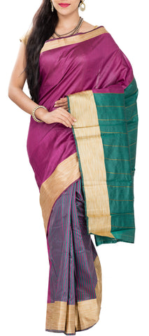 Magenta, Blue & Green Semi Tussar Saree