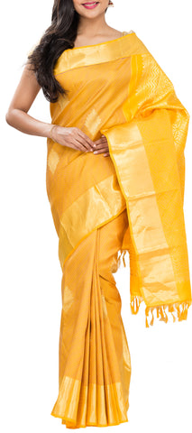 Yellow Pure Kanchipuram Handloom Silk Saree With Half-Fine Zari