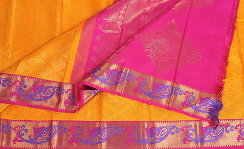 Yellow & Pink Pure Kanchipuram Silk Saree With Pure Zari