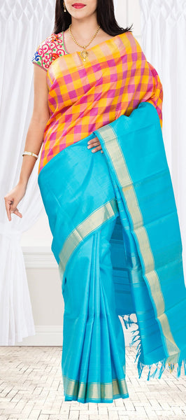 Pure kanchipuram handloom silk saree with half fine zari