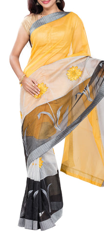 Yellow, White & Black Supernet Saree
