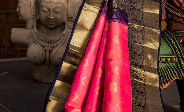 Pink & Blue Luxury Silk Saree Woven In Pure Zari