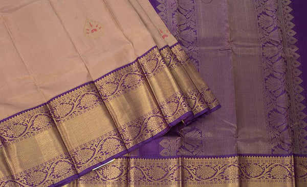 Baby Pink & Blue Pure Kanchipuram Handloom Silk Saree With Pure Zari