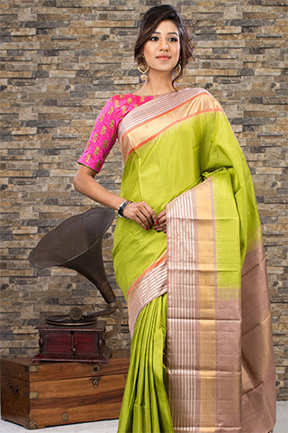Green & Beige Pure Kanchipuram Handloom Silk Saree With Pure Zari