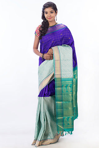 Blue Half-And-Half Pure Kanchipuram Handloom Silk Saree With Pure Zari