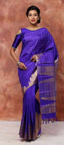 Purple Pure Kanchipuram Handloom Silk Saree With Pure Zari