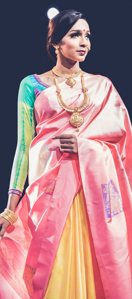 Pure silk saree peach and neon yellow