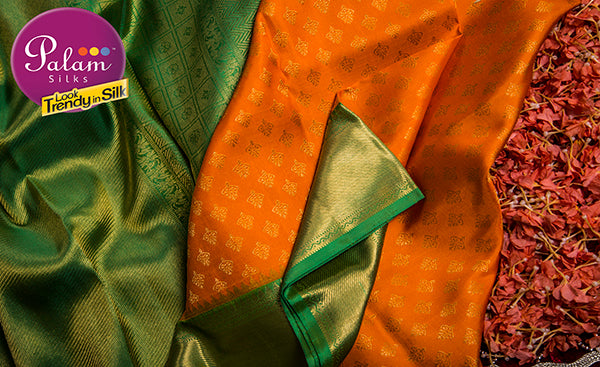 Orange & Green Pure Kanchipuram Handloom Silk Saree