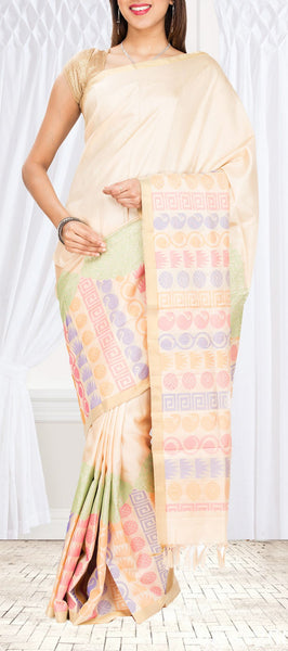 Soft Silk in Pastel Colours with half fine zari