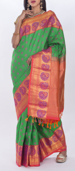 Parrot Green & Pink Lightweight Kanchipuram Pure Silk Saree
